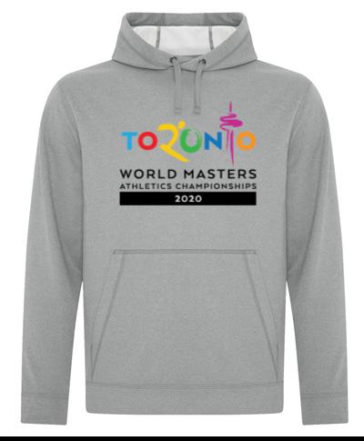 Gray Polyester Fleece Hooded Sweatshirt