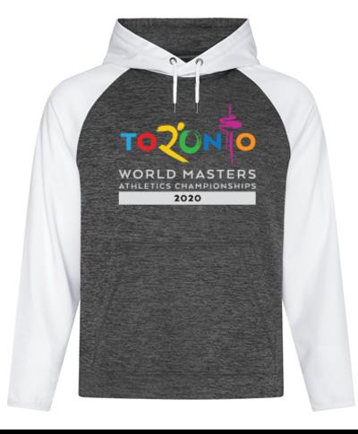 White/Gray Polyester Heather Fleece 2-Tone Hooded Sweatshirt
