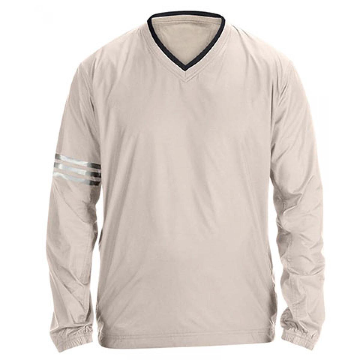 Adidas ClimaLite V-Neck Long Sleeve Wind Shirt-Brown-2XL