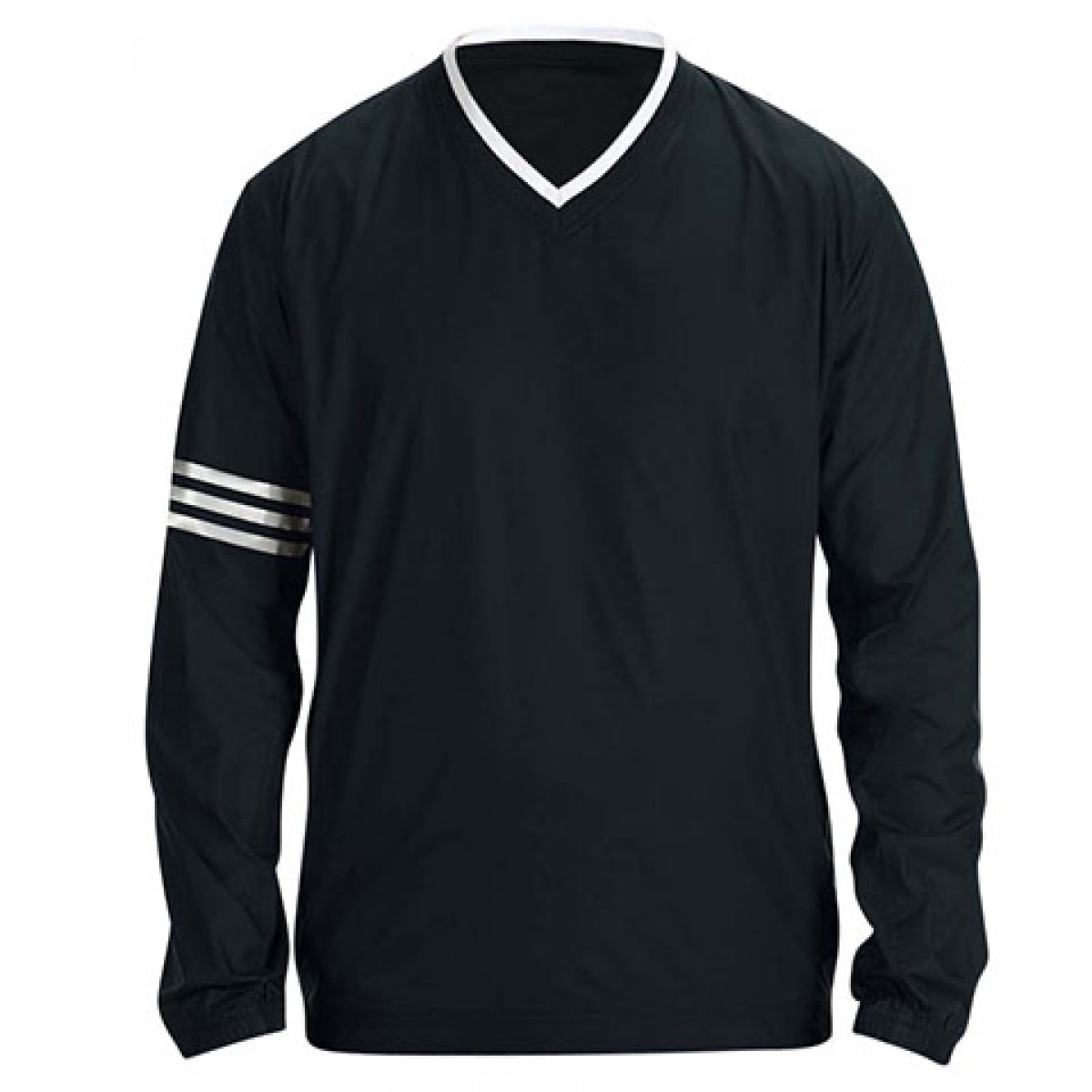 Adidas ClimaLite V-Neck Long Sleeve Wind Shirt-Black-2XL