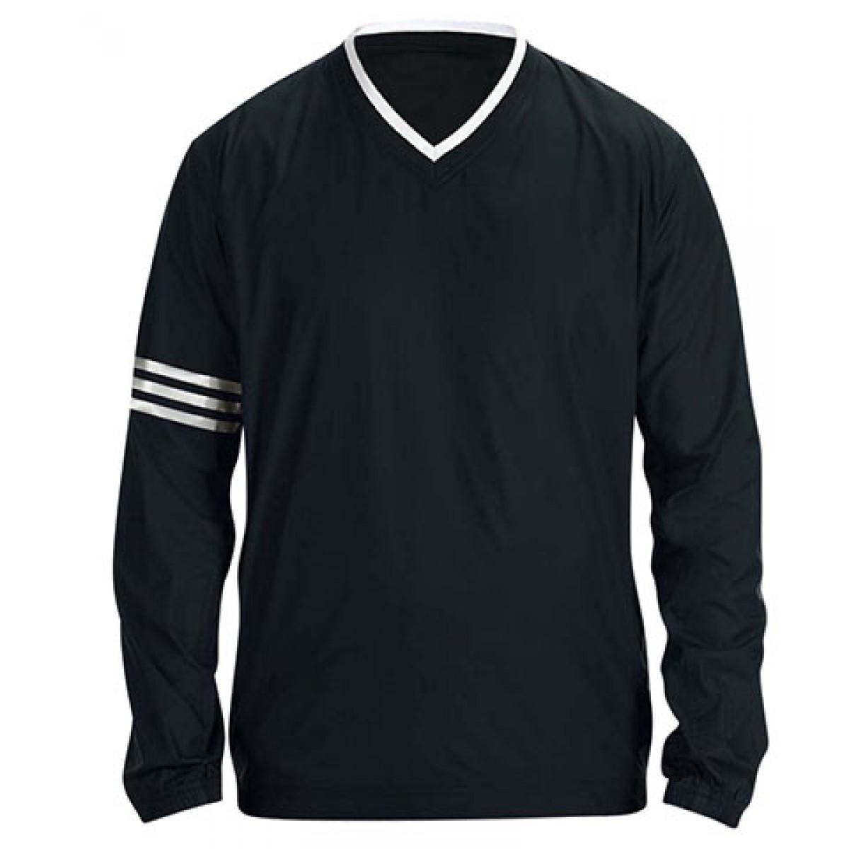 Adidas ClimaLite V-Neck Long Sleeve Wind Shirt-Black-2XL