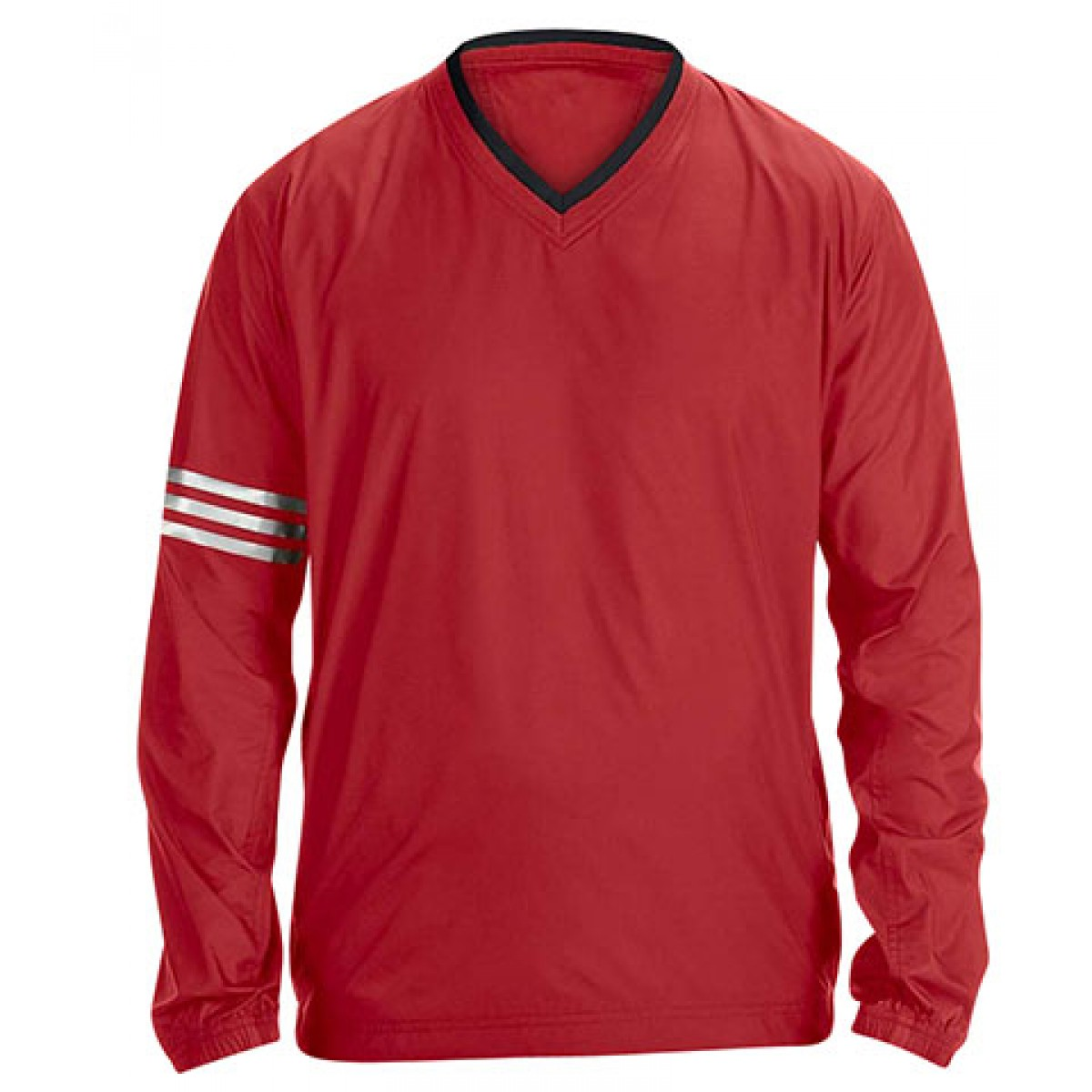 Adidas ClimaLite V-Neck Long Sleeve Wind Shirt-Red-2XL