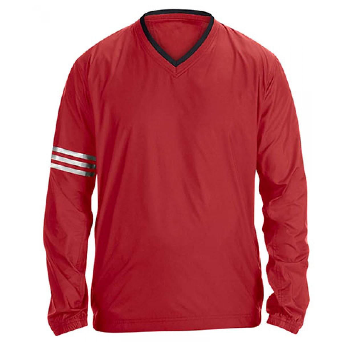 Adidas ClimaLite V-Neck Long Sleeve Wind Shirt-Red-2XL