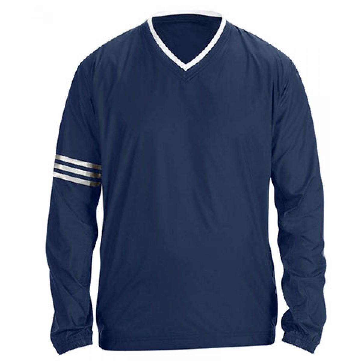 Adidas ClimaLite V-Neck Long Sleeve Wind Shirt-Navy-L