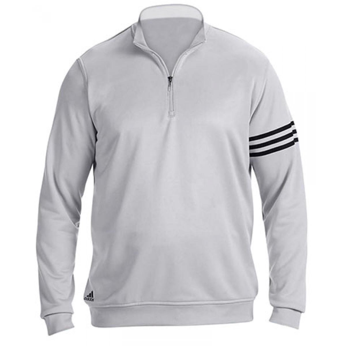 Adidas Men's 3-Stripes Pullover-Gray -M