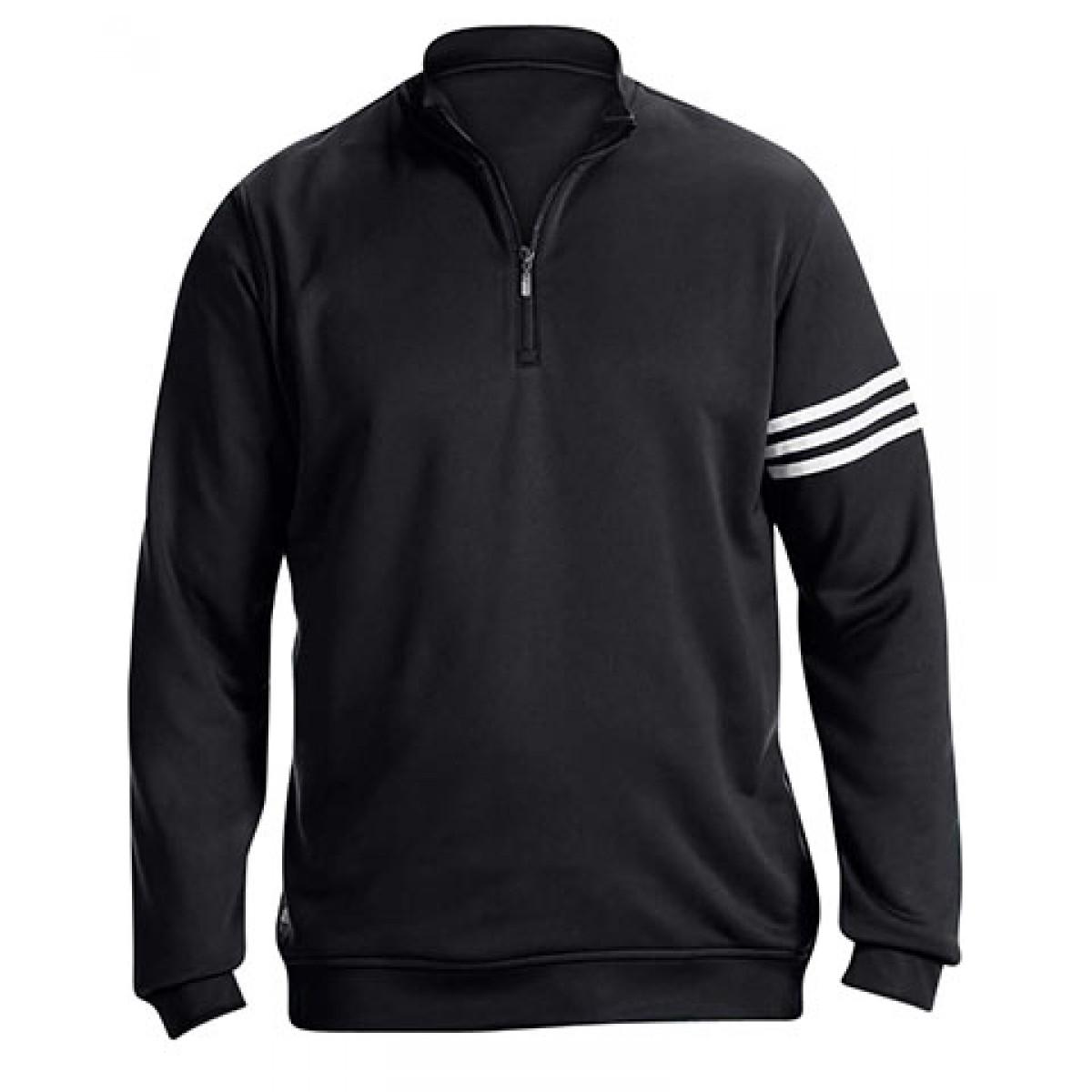 Adidas Golf Men's ClimaLite® 3-Stripes Pullover-Black-M