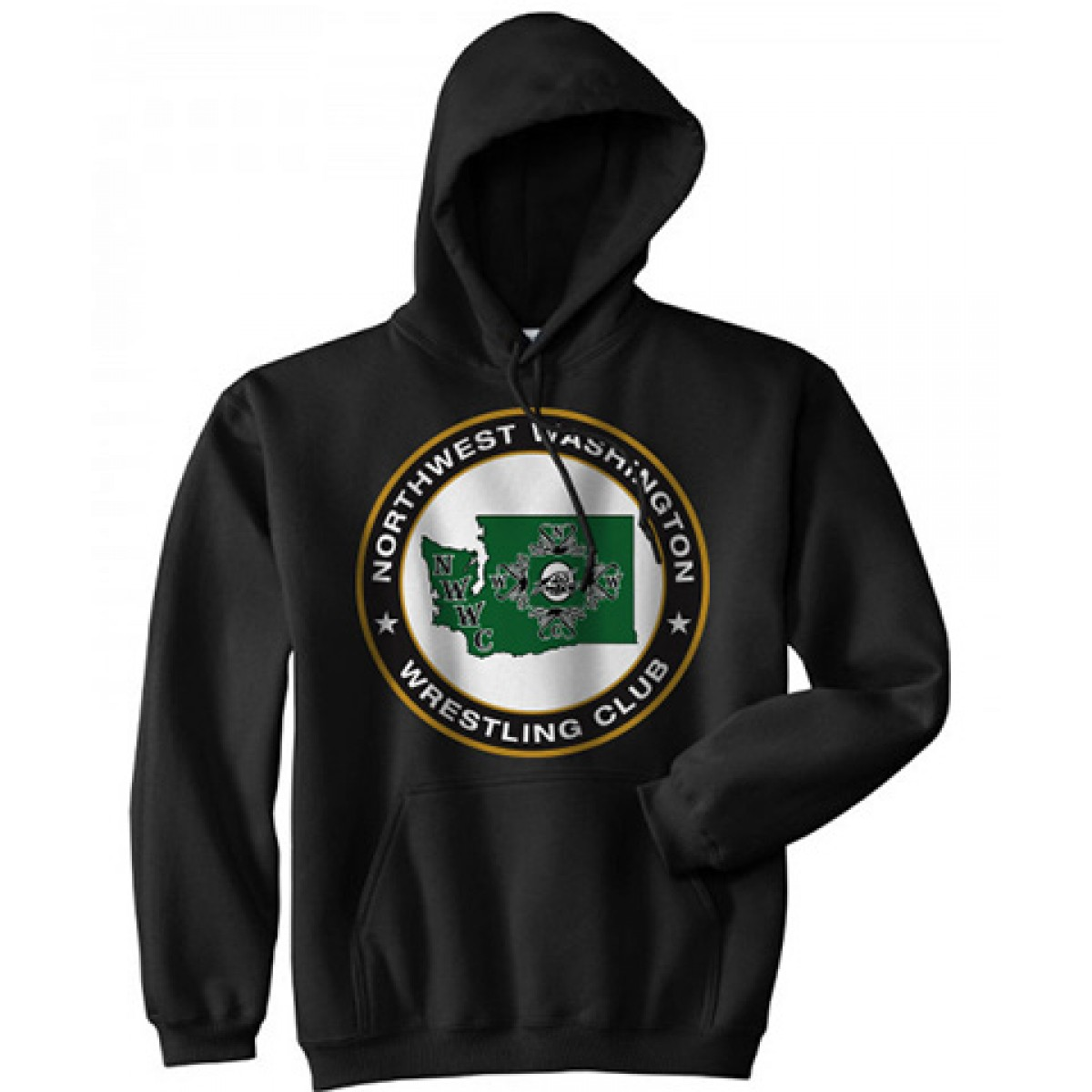 NWWC Black Hoodie With Green Logo-Black-YS