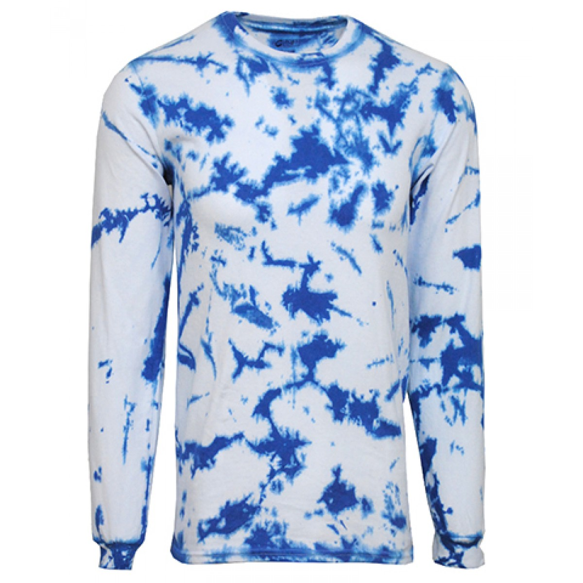 Tie-Dye Long Sleeve Shirts-Light Royal-YM