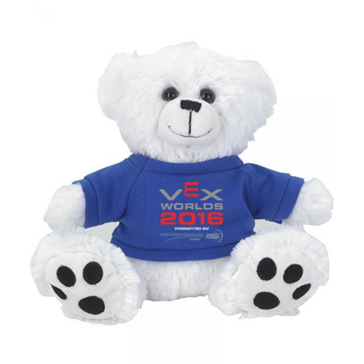Plush Big Paw Bear With Shirt-White/Blue