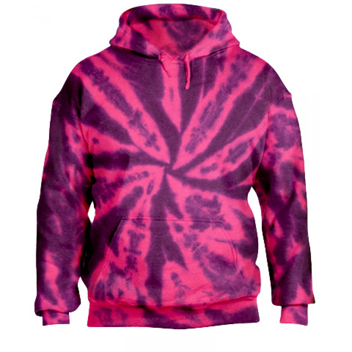 Tie-Dye Pullover Hooded Sweatshirt-Berry Purple-XL