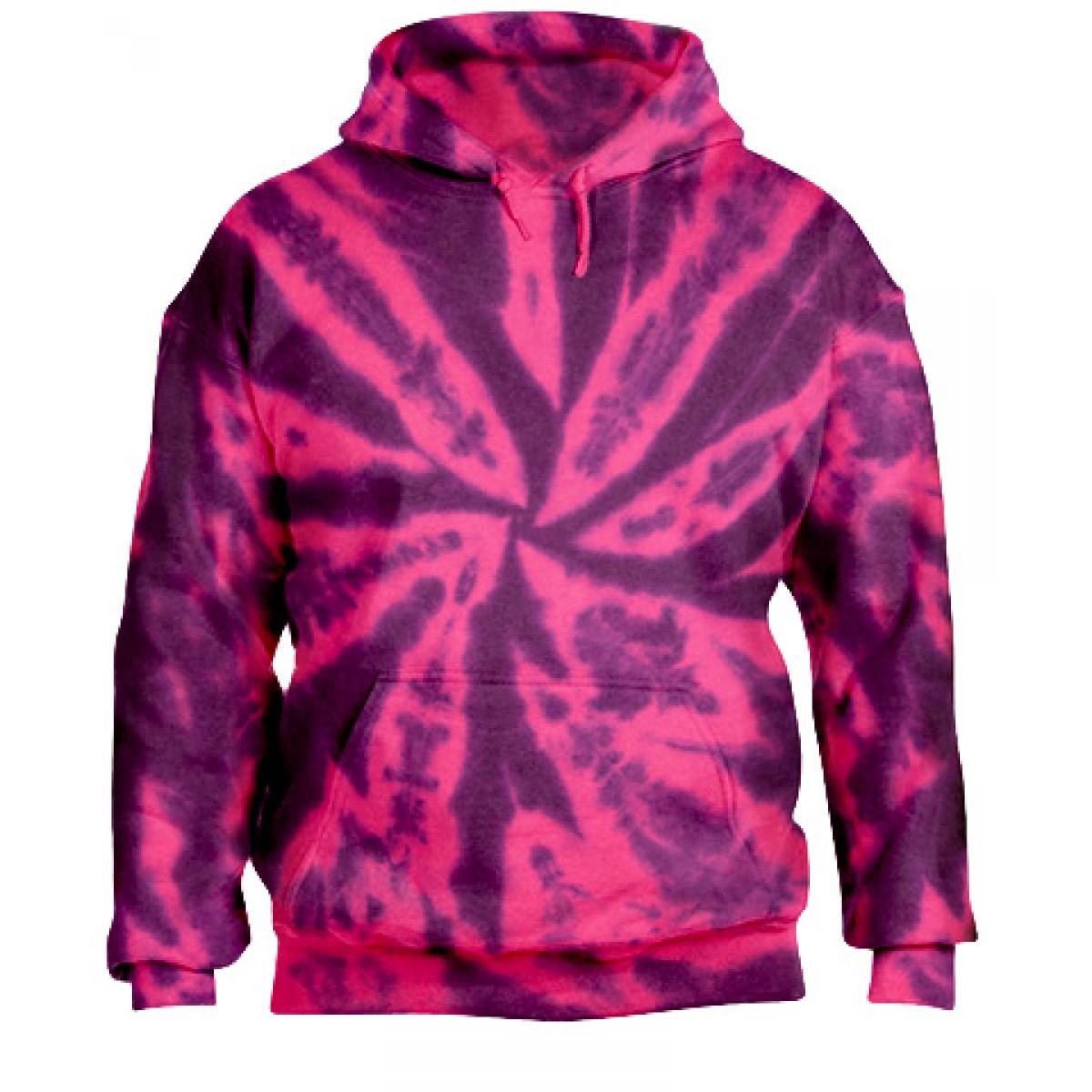 Tie-Dye Pullover Hooded Sweatshirt-Berry Purple-XL