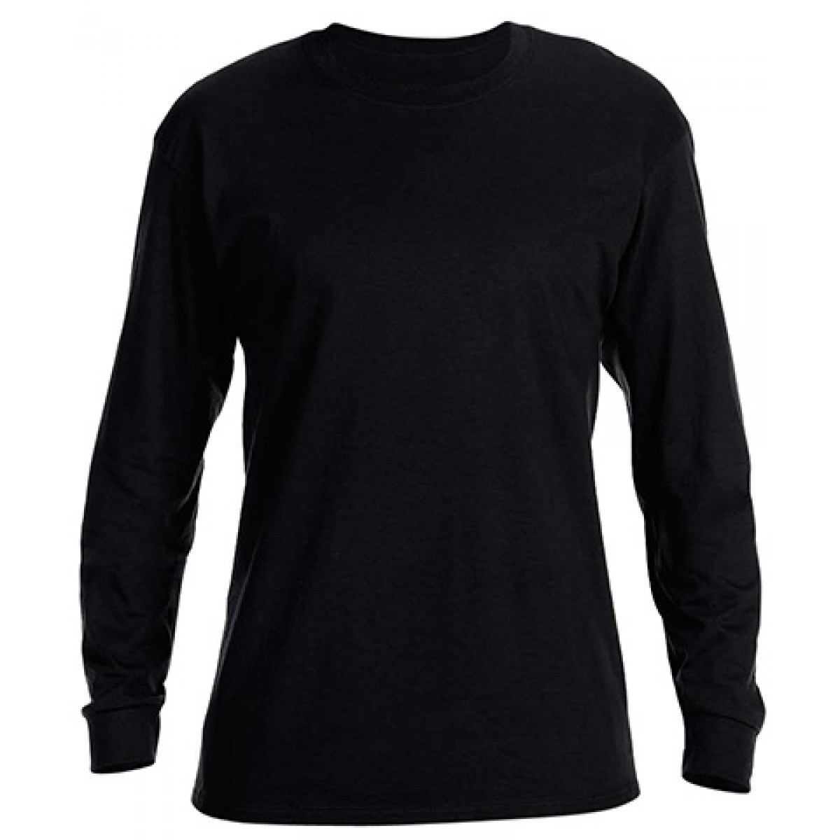Basic Long Sleeve Crew Neck -Black-2XL