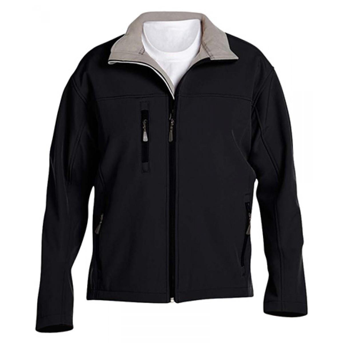 Men's Soft Shell Jacket-Black-XL
