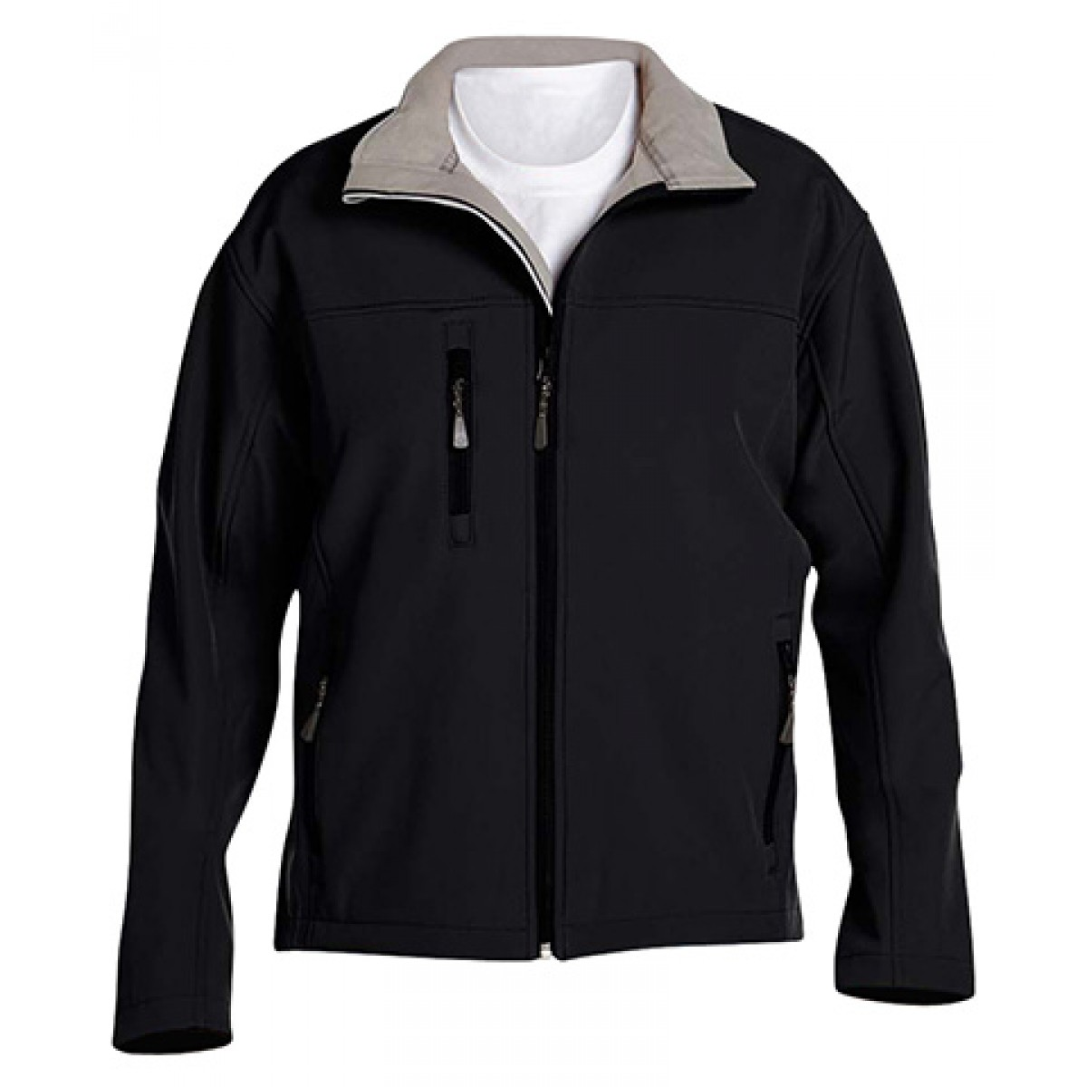Men's Soft Shell Jacket-Black-L