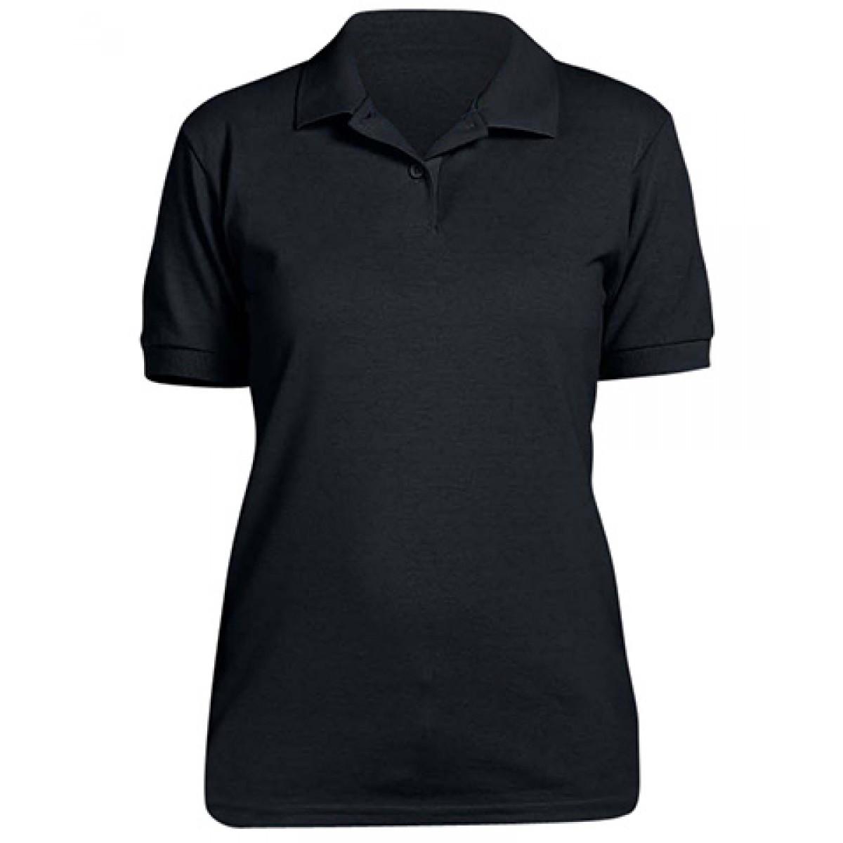 Ladies' 6.5 oz. Piqué Sport Shirt-Black-L