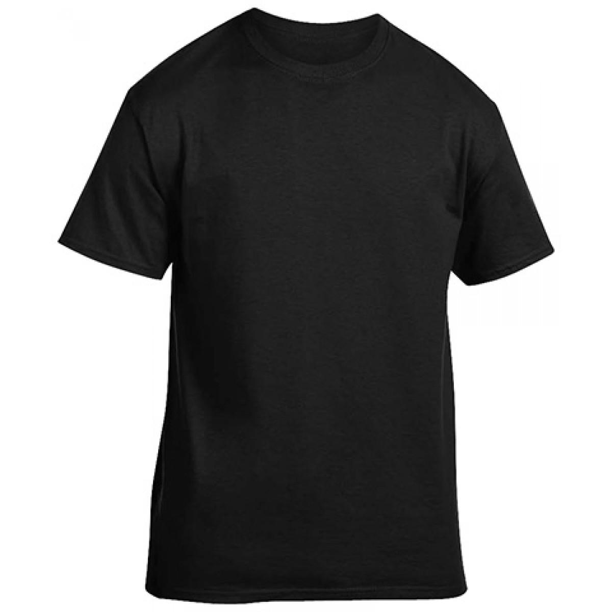 Cotton Short Sleeve T-Shirt-Black-XL