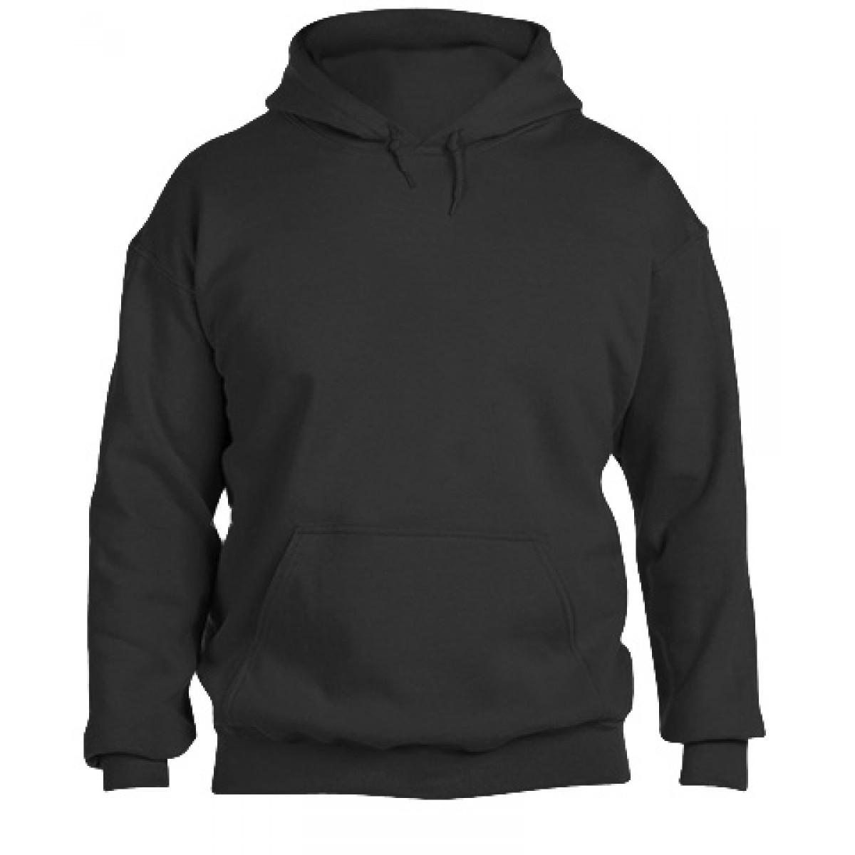 Solid Hooded Sweatshirt  50/50 Heavy Blend-Black-M