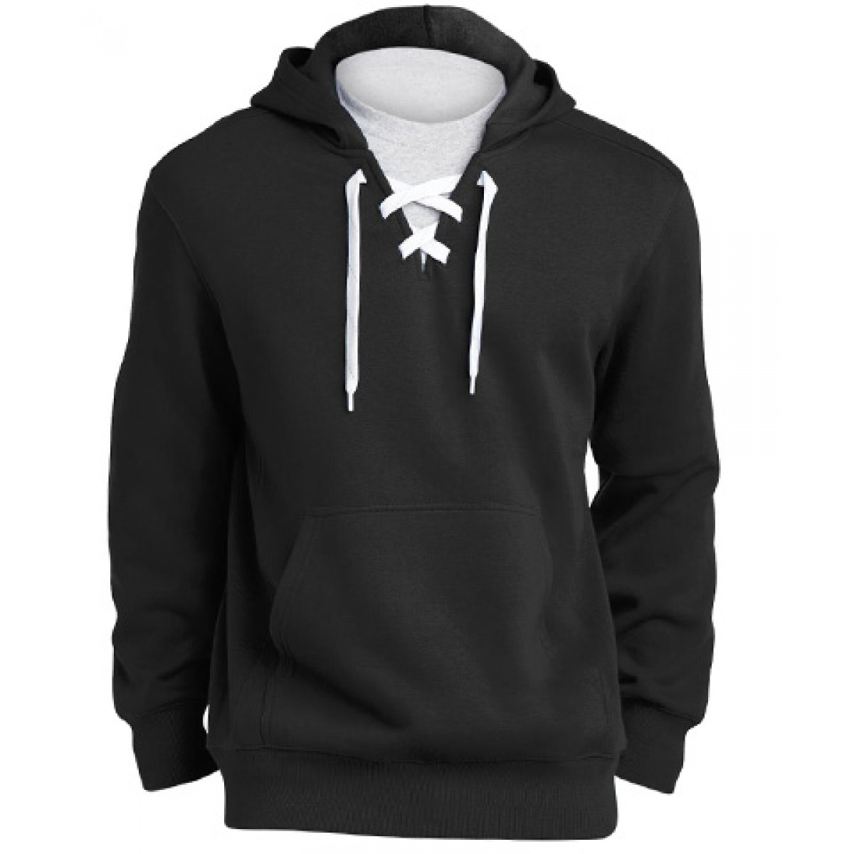 Lace Up Pullover Hooded Sweatshirt-Black-2XL