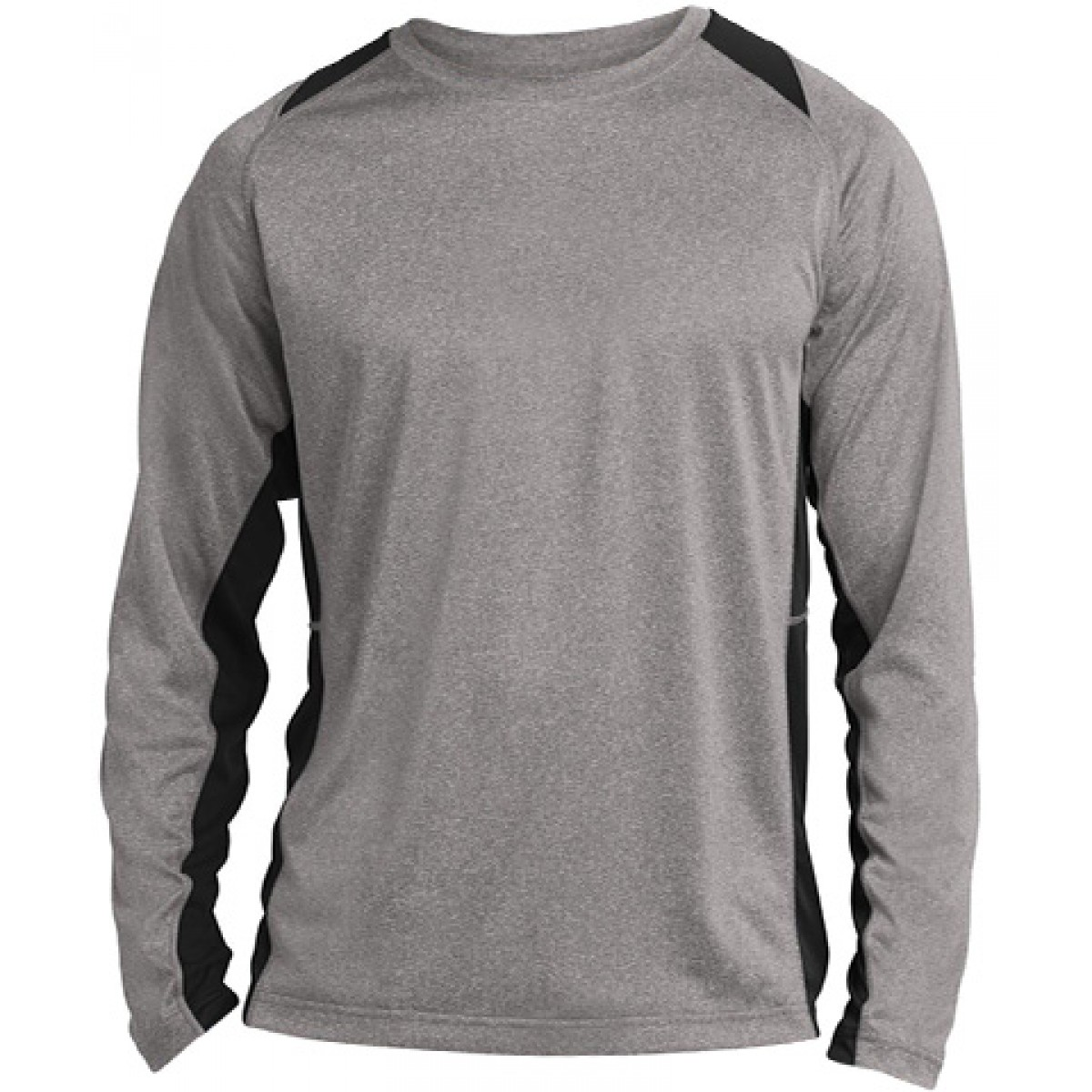 Long Sleeve Heather Colorblock Contender-Gray/Black-YL