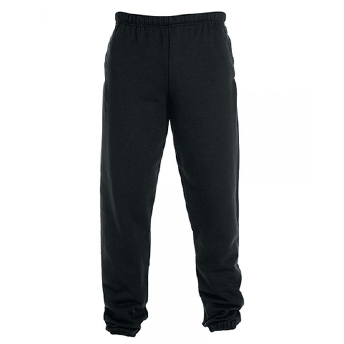 Fleece Pocketed Sweatpants-Black-YM