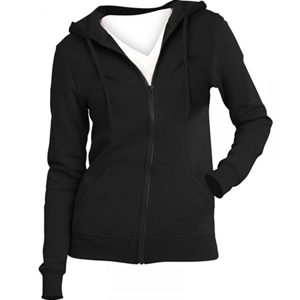 Juniors Full-Zip Hoodie-Black-S
