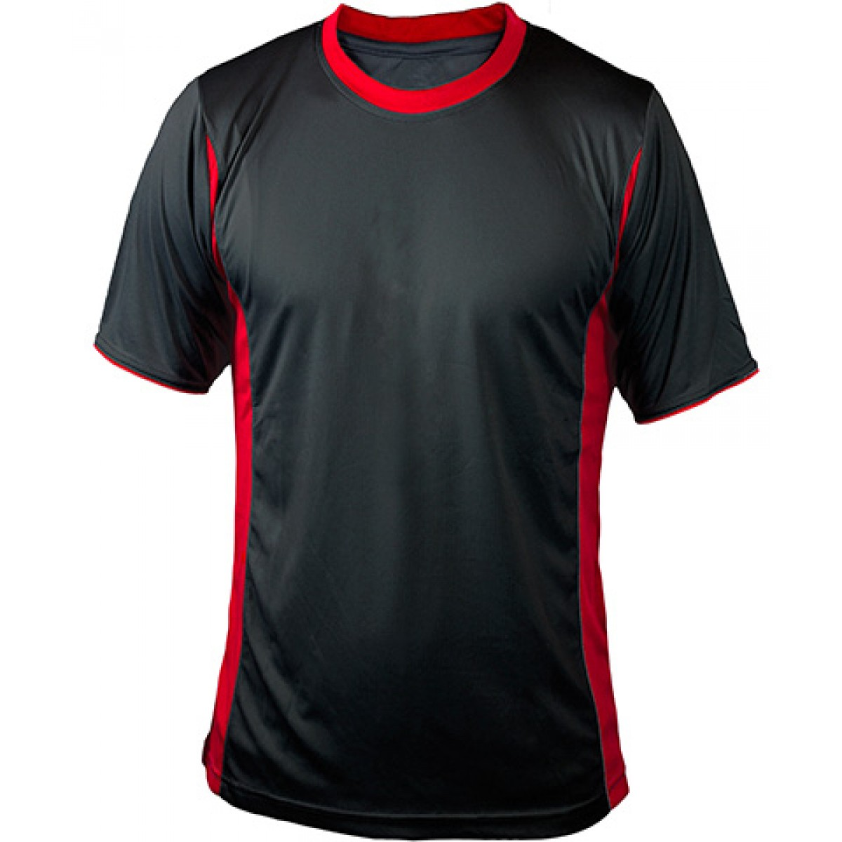 Black Short Sleeves Performance With Red Side Insert-Black-YL