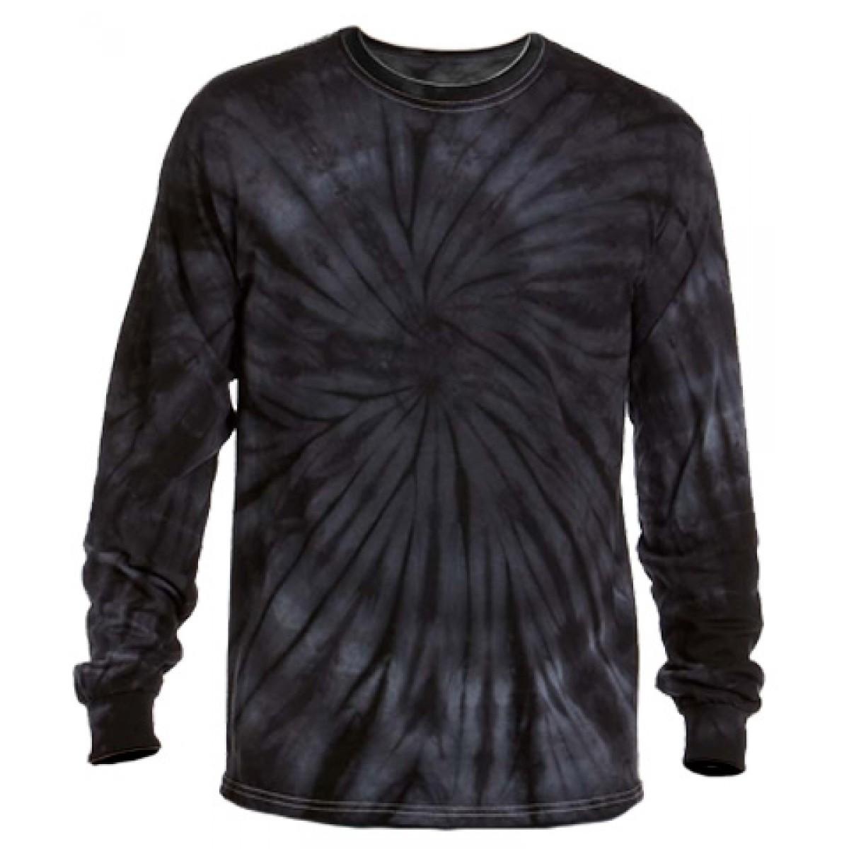 Multi Color Tie-Dye Long Sleeve Shirt -Gray -XL