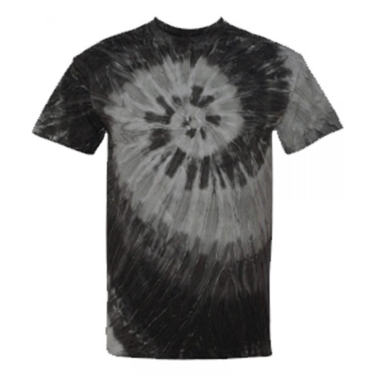 Blue or Black Ripple Tie Dye T-Shirt-White/Black-M