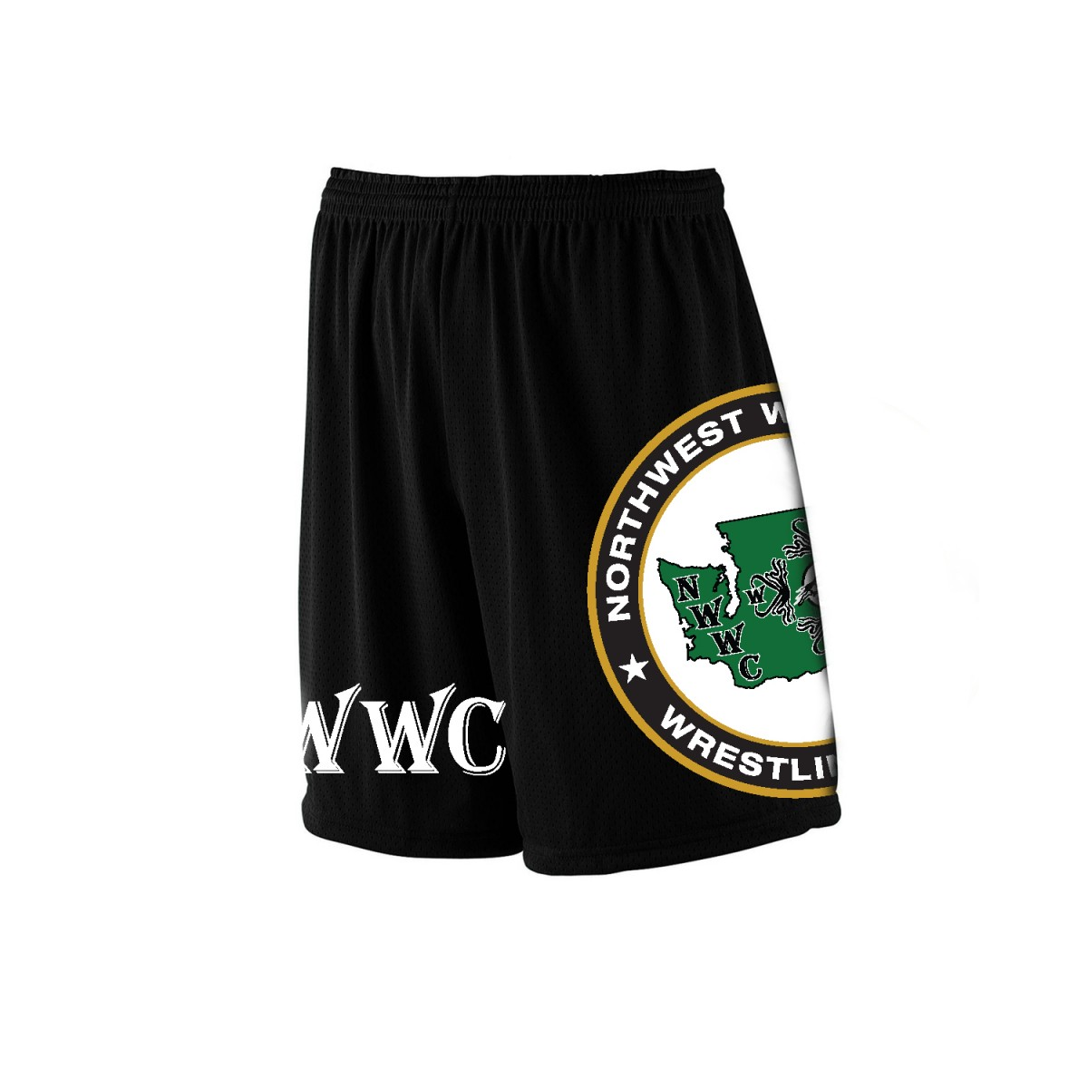NWWC Black Shorts Green Logo-Black-YS