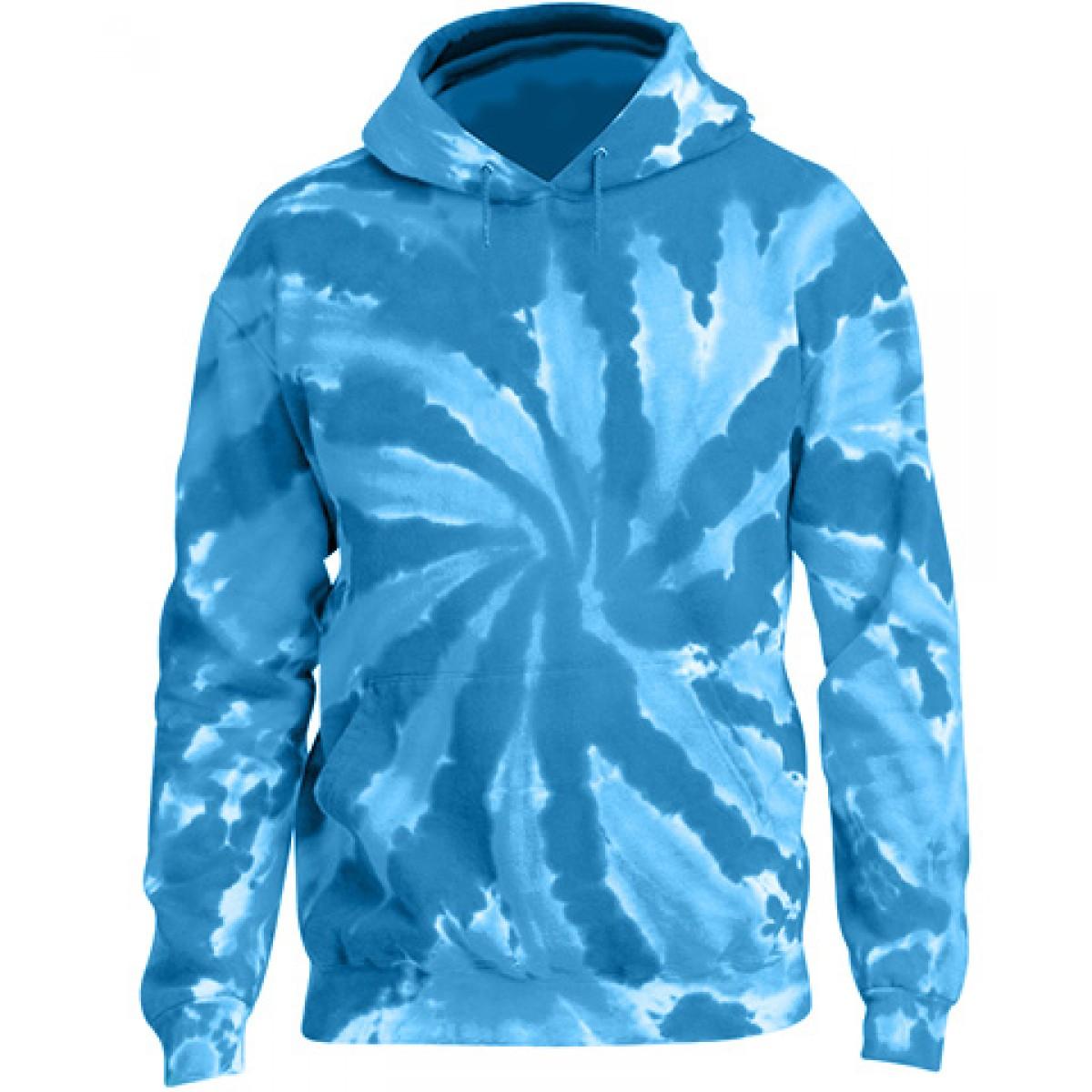 Tie-Dye Pullover Hooded Sweatshirt-Blue-YS