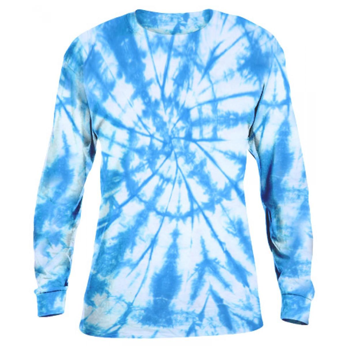 Tie-Dye Long Sleeve Shirt -Blue-YM