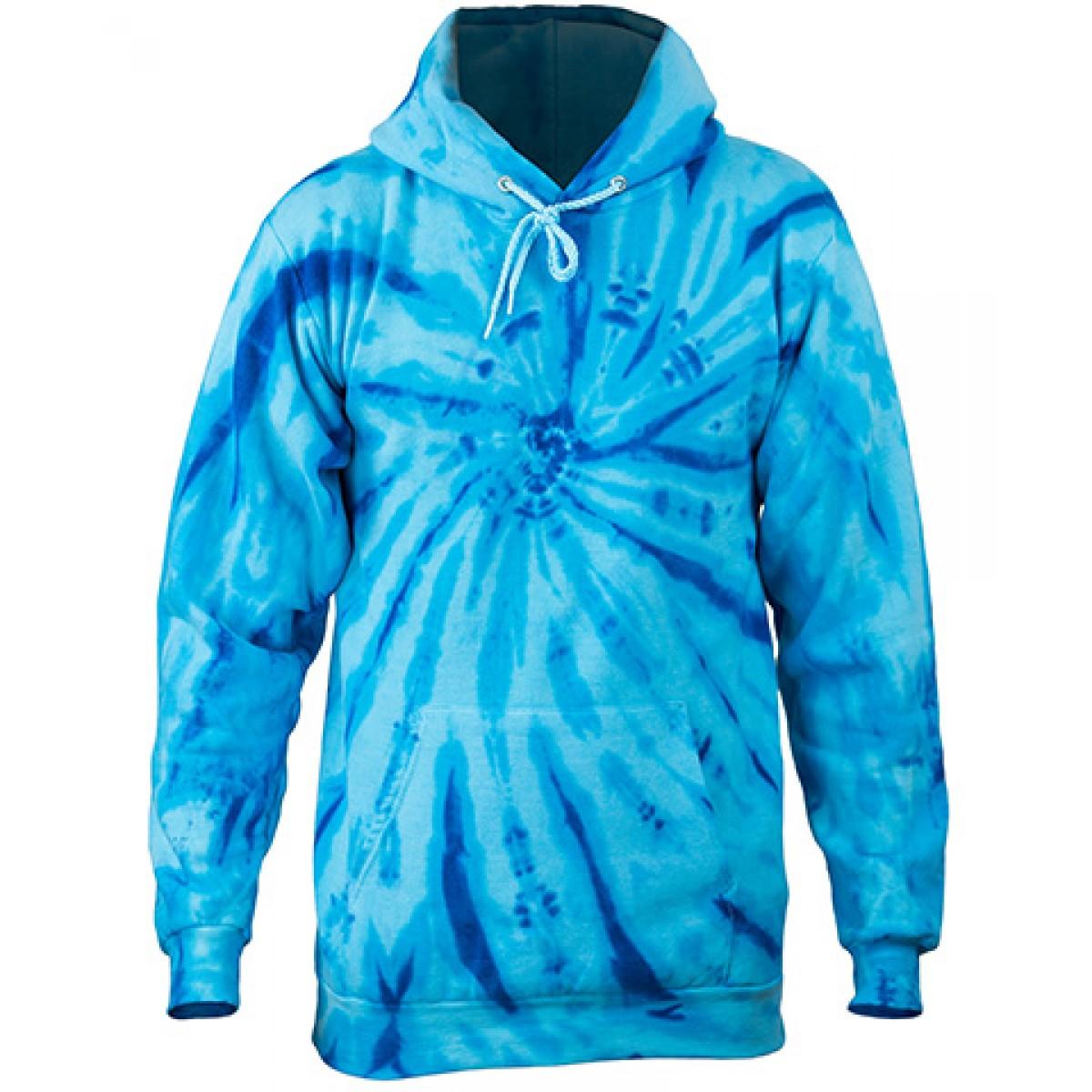 Tie-Dye Pullover Hooded Sweatshirt-Tropic Blue-2XL