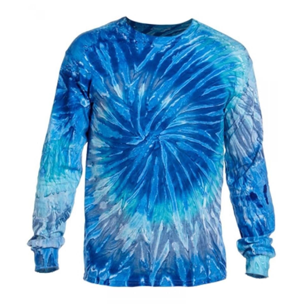 Long Sleeve Tie-Dye T-Shirts-White/Blue-2XL