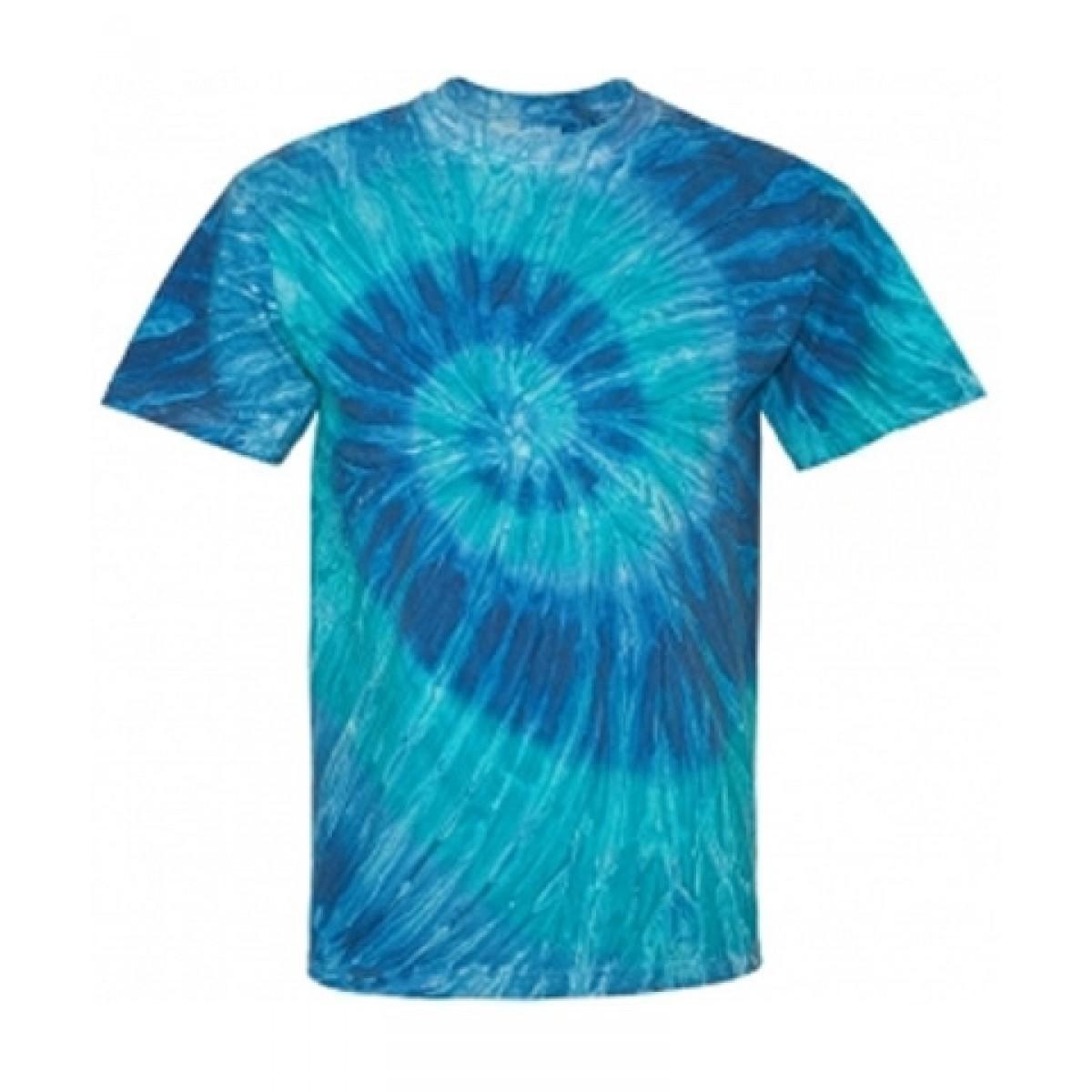Blue or Black Ripple Tie Dye T-Shirt-Scuba Blue -YL
