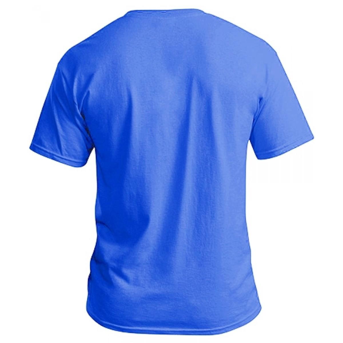 Soft 100% Cotton T-Shirt-Heather Blue-XL