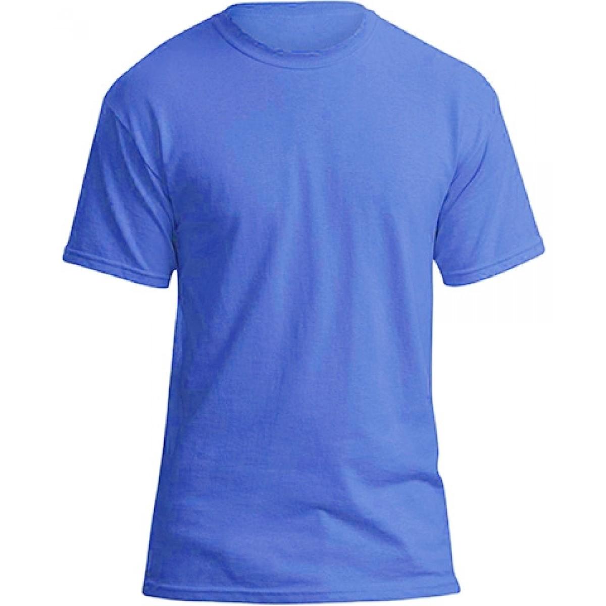 Soft 100% Cotton T-Shirt-Heather Blue-S