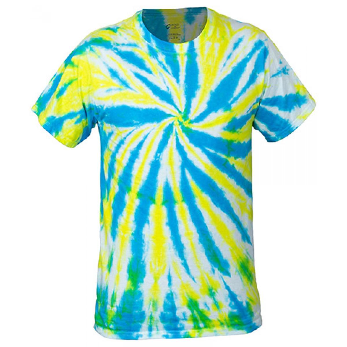 Multi-Color Tie-Dye Tee -Blue-XL