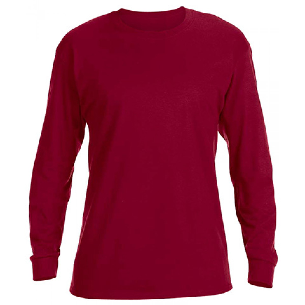 Basic Long Sleeve Crew Neck -Cardinal Red-XL