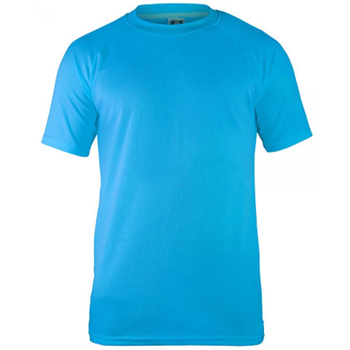 Short Sleeves Mesh Performance T-shirt-Blue-M