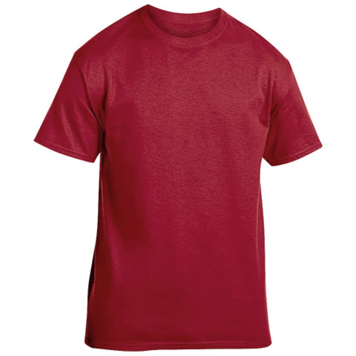 Soft 100% Cotton T-Shirt-Cardinal Red-YM