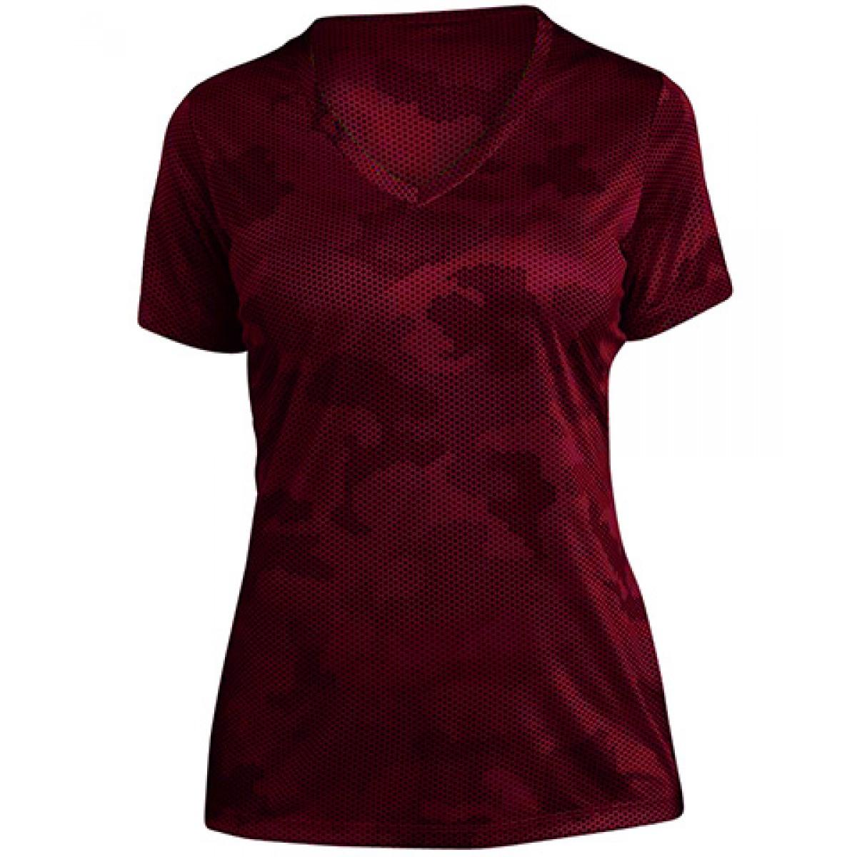 Ladies CamoHex V-Neck Tee-Red-XS