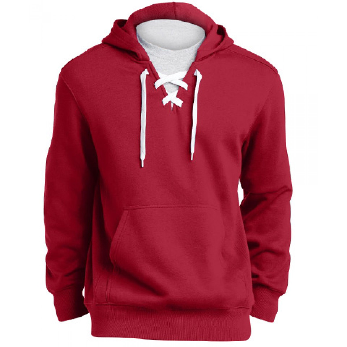 Lace Up Pullover Hooded Sweatshirt-Red-M