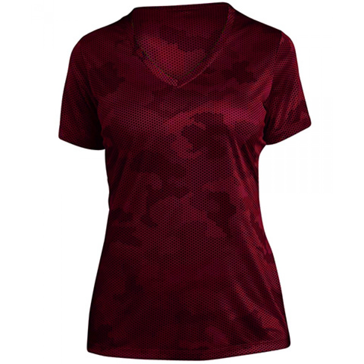 Ladies CamoHex V-Neck Tee-Red-L