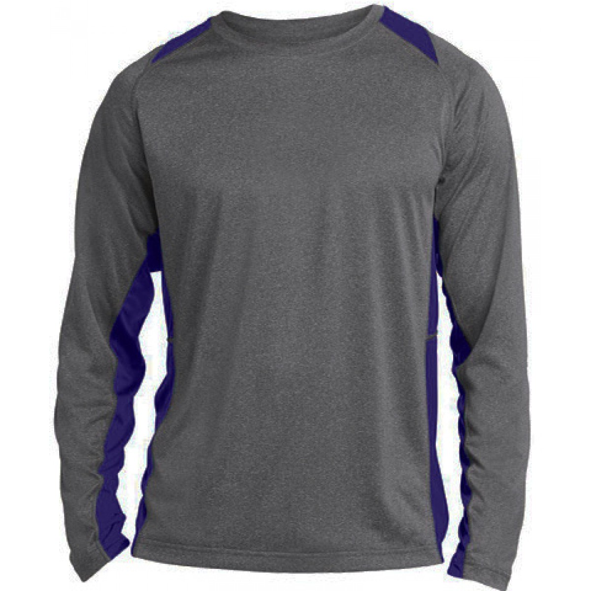 Long Sleeve Heather Colorblock Contender-Royal Blue-XS
