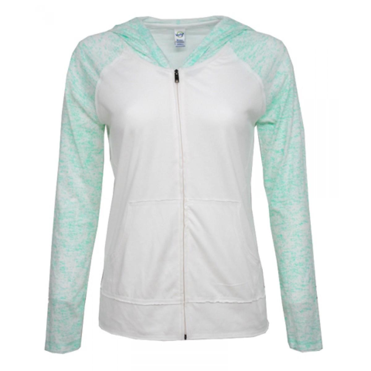Junior  Long Sleeve Zip Hoodie-Green-S