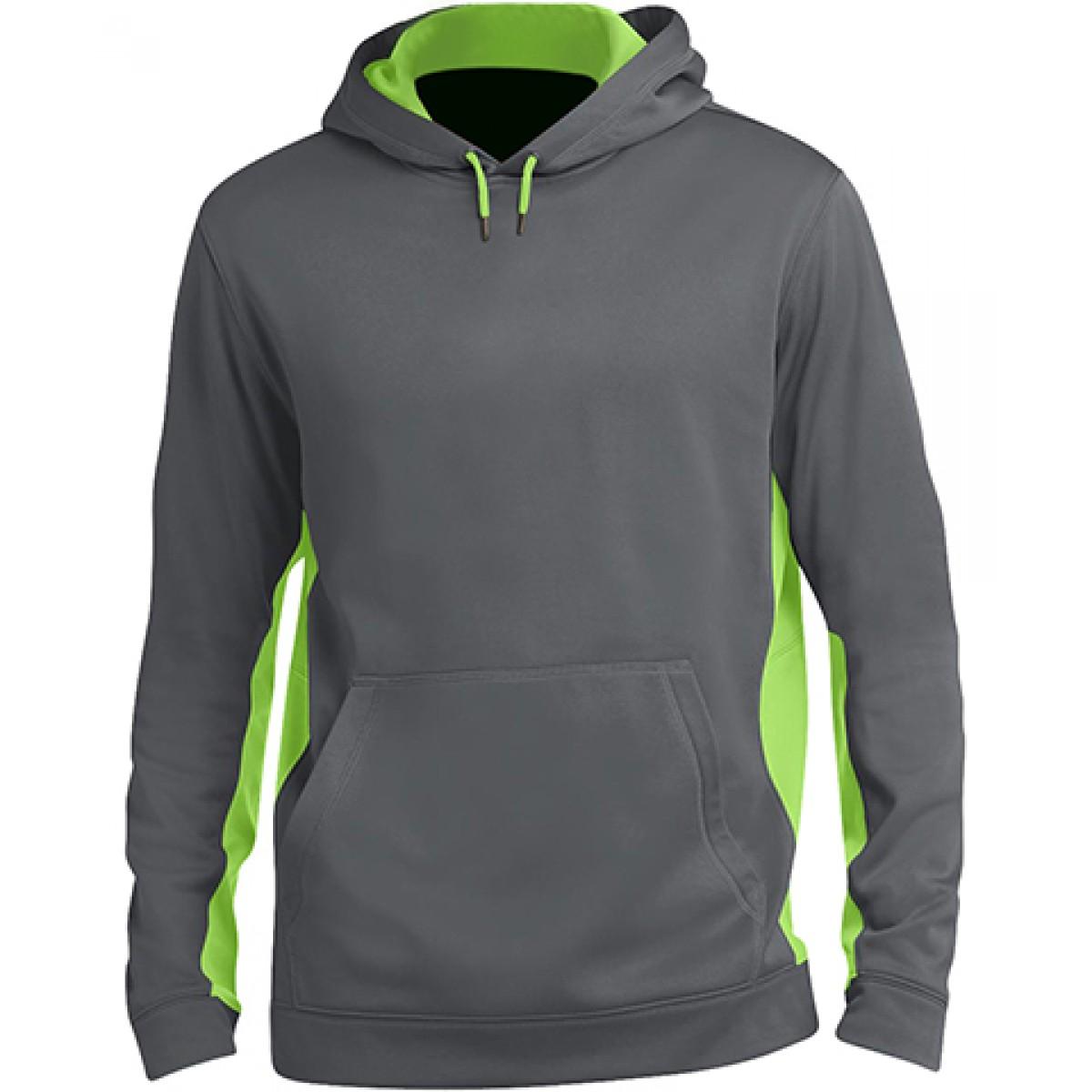 Fleece Colorblock Hooded Pullover-Gray/Green-2XL