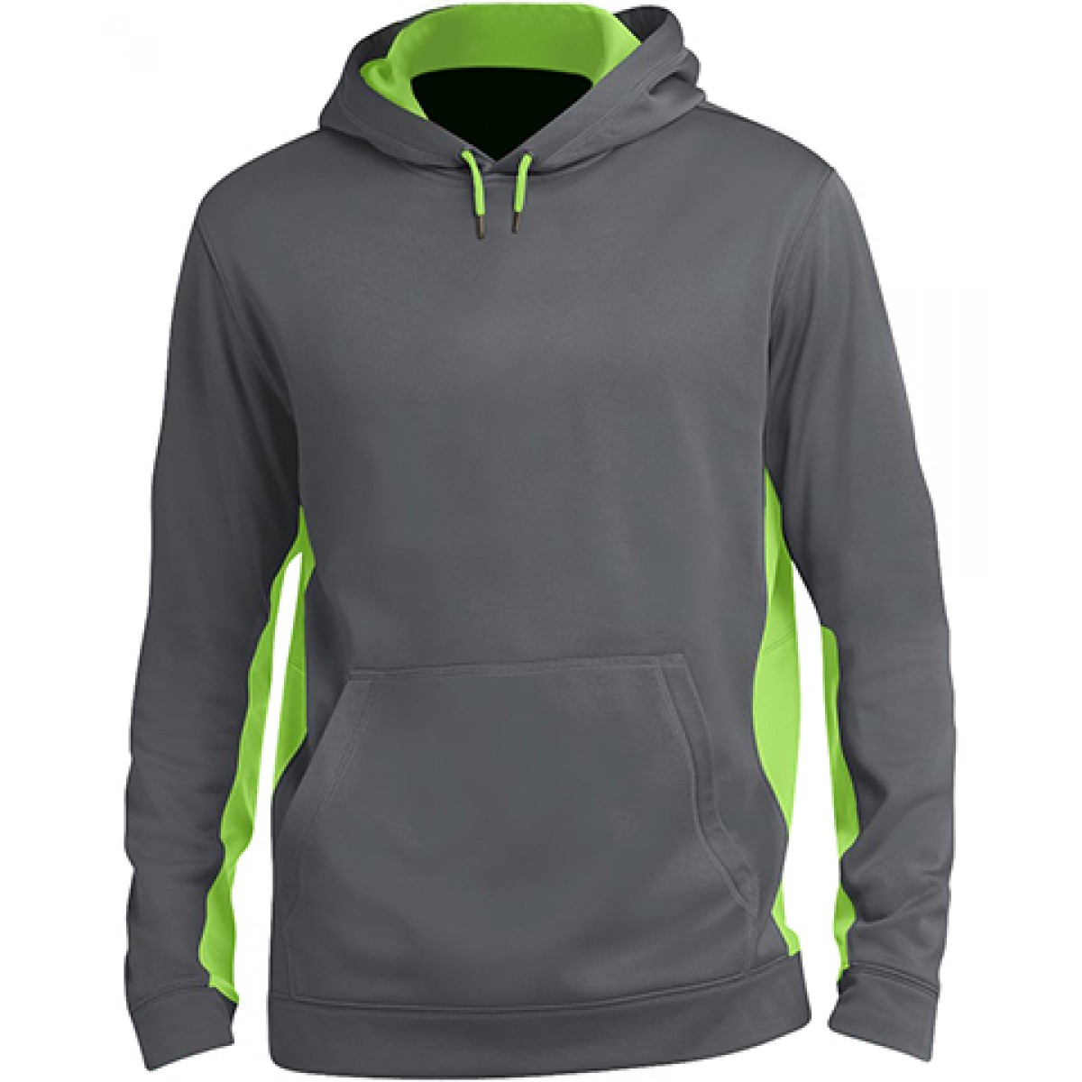 Fleece Colorblock Hooded Pullover-Gray/Green-L