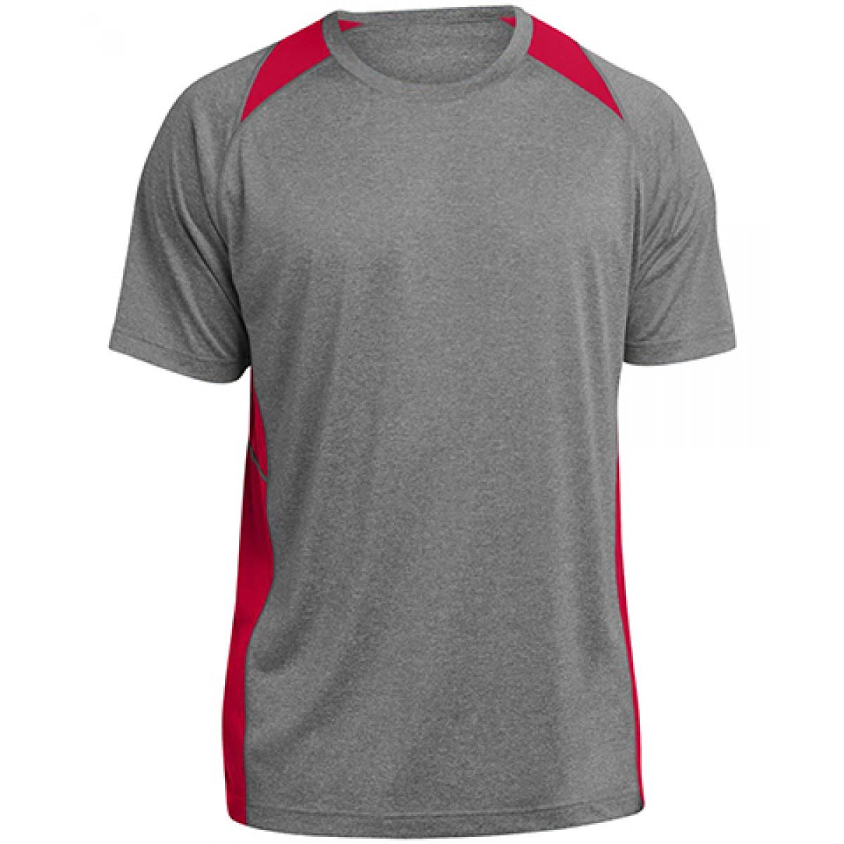 Heather Colorblock Contender™ Tee-Gray/Red-L