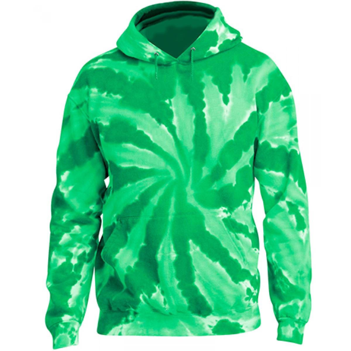 Tie-Dye Pullover Hooded Sweatshirt-Green-YL