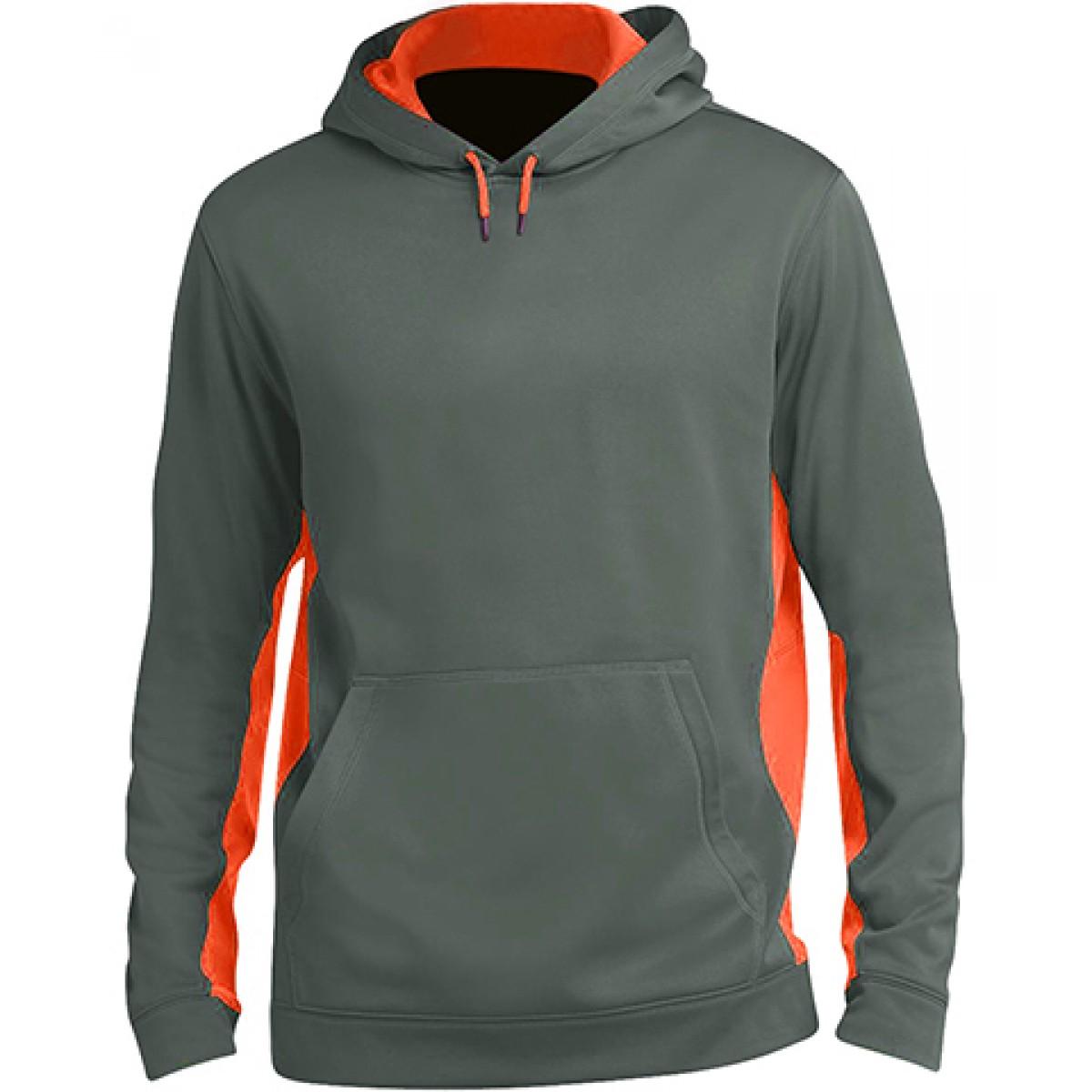Fleece Colorblock Hooded Pullover-Orange-M